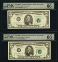 Small Size:Federal Reserve Notes, Fr. 1970-B (2); C $5 1969A Federal Reserve Notes. PMG Gem Uncirculated 66 EPQ.. ... (Total: 3 notes)