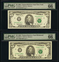 Small Size:Federal Reserve Notes, Fr. 1982-B*: E* $5 1993 Federal Reserve Star Notes. PMG Gem Uncirculated 66 EPQ;. Fr. 1983-G* $5 1993 Federal Reserve Star... (Total: 3 notes)