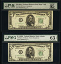 Small Size:Federal Reserve Notes, Fr. 1962-B; F; G $5 1950A Federal Reserve Notes. PMG Graded Choice Uncirculated 63 EPQ-Gem Uncirculated 65 EPQ.. ... (Total: 3 notes)