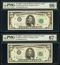 Small Size:Federal Reserve Notes, Fr. 1968-H; H* $5 1963A Federal Reserve Notes. PMG Graded Gem Uncirculated 66 EPQ; Superb Gem Unc 67 EPQ.. ... (Total: 2 notes)