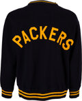 Football Collectibles:Uniforms, Late 1940's Green Bay Packers Game Worn Sideline Sweater from The Glen Christensen Collection. ...