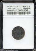 Early Dimes: , 1803 10C --Damaged, Cleaned, Bent--ANACS. VG Details, Net ...