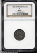 Bust Dimes: , 1821 10C Large Date MS61 NGC. JR-1, R.2. Medium sea-green ...