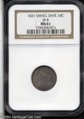 Bust Dimes: , 1821 10C Small Date MS61 NGC. JR-8, R.2. Golden-brown and ...