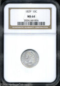 Bust Dimes: , 1829 10C Small 10C MS64 NGC. JR-7, R.1. Stars eight and ...