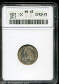 Bust Dimes: , 1831 10C MS63 ANACS. JR-5, R.1. Luminous honey-gold ...