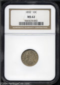 Bust Dimes: , 1832 10C MS62 NGC. JR-2, R.2. Stars 12 and 13 are widely ...