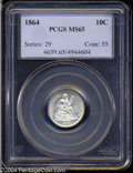 Seated Dimes: , 1864 10C MS65 PCGS. Only 11,000 pieces were struck of ...