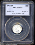 Barber Dimes: , 1911-D 10C MS66 PCGS. Just a couple of hints of gold ...