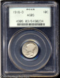 1916-D 10C AG3 PCGS. This well, but evenly-worn, key-date specimen would be quite suitable for a circulated Mercury dime...
