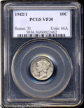 1942/1 10C VF30 PCGS. While this popular overdate is not particularly scarce in grades through Very Fine, the present ex...