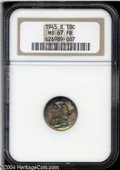 1945-S 10C MS67 Full Bands NGC. Bands of aqua-marine, golden-brown, and rose patina alternate across this lustrous Super...