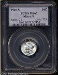 1945-S 10C Micro S MS67 PCGS. Although the bands only show partial separation, the strike is otherwise splendid. A brill...