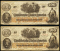 Confederate Notes:1862 Issues, CT41/315 Counterfeit $100 1862 Four Examples Very Fine.. ... (Total: 4 notes)