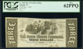 Obsoletes By State:North Carolina, Raleigh, NC- State of North Carolina $3 Jan. 1, 1863 Cr. 128 PCGS New 62PPQ.. ...