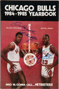 Basketball Collectibles:Publications, 1984-85 Chicago Bulls Multi-Signed Yearbook with Rookie Michael Jordan Twice!...
