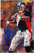 """Football Collectibles:Others, 2002 """"John Elway"""" Signed Limited Edition (52/99) Giclee On Canvas by Stephen Holland...."""