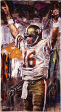 """Football Collectibles:Others, 2003 """"Joe Montana - Super Bowl XVI"""" Signed Limited Edition (34/49) Giclee On Canvas by Stephen Holland...."""