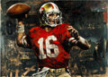 """Football Collectibles:Others, 2000's """"Joe Montana - Memories of a Lifetime"""" Signed Limited Edition (HC) Giclee On Canvas by Stephen Holland...."""