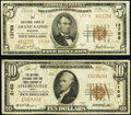 National Bank Notes:Ohio, Grand Rapids, MI - $5 1929 Ty. 2 The National Bank of Grand Rapids Ch. # 13758 Fine;. Steubenville, OH - $10 192... (Total: 2 notes)