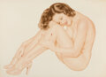 Pin-Up and Glamour Art, Alberto Vargas (Peruvian/American, 1896-1982). Nice and Easy, Legacy Nude #8 study, 1953. Watercolor on board. 18-3/8 x ...
