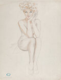 Works on Paper, Alberto Vargas (Peruvian/American, 1896-1982). Cover Girl, Esquire study. Watercolor and pencil on paper. 25-3/4 x 20-5/...