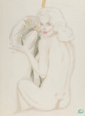 Works on Paper, Alberto Vargas (Peruvian/American, 1896-1982). Beauty with Yellow Daisies study. Watercolor and pencil on vellum. 27-1/4...