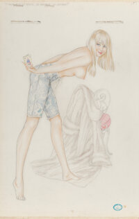 Alberto Vargas (Peruvian/American, 1896-1982) I Know What He Wants study Watercolor and pencil on ve