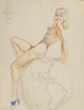 Works on Paper, Alberto Vargas (Peruvian/American, 1896-1982). The Marines Have Landed study. Pencil and watercolor on...