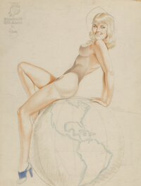 Alberto Vargas (Peruvian/American, 1896-1982) The Marines Have Landed study Pencil and watercolor on