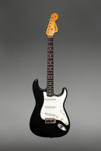 1967 Fender Stratocaster Black Solid Body Electric Guitar, Serial #209625