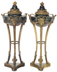 A Pair of Empire-Style Gilt Bronze-Mounted Black and Green Variegated Marble Covered Floor Urns 46-1/2 x 18-1/2 x 18-1/2...