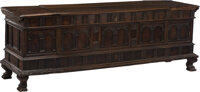 A Large Italian Carved Walnut Coffer, late 18th-early 19th century Marks: effaced paper freight label to back Ferrocarri...