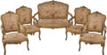 Furniture, A Five-Piece Louis XV-Style Giltwood and Tapestry Upholstered Salon Suite, 19th century. 43 x 54 x 24 inches (109.2 x 137.2 ... (Total: 5 Items)