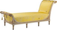 A Large Empire-Style Carved Giltwood and Canary Silk Upholstered Daybed 40 x 90 x 34 inches (101.6 x 228.6 x 86.4 cm)...