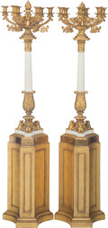 Decorative Accessories, A Pair of Large French Gilt Bronze and Marble Eight-Light Candelabra on Giltwood Stands. 68 x 17 x 17 inches (172.7 x 43.2 x... (Total: 2 Items)