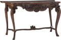 Furniture, An Italian Rococo-Style Carved Walnut Console Table, 19th century. 33 x 56-1/2 x 26-1/2 inches (83.8 x 143.5 x 67.3 cm). ...