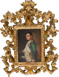 Ceramics & Porcelain, A Continental Painted Porcelain Plaque Depicting Napoleon with Venetian Giltwood Frame, late 19th-early 20th century. 5-1/4 ...