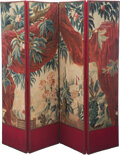 Furniture, A Large Four-Panel Tapestry-Upholstered Floor Screen, 19th century. 67-1/2 x 80 inches (171.5 x 203.2 cm). ...
