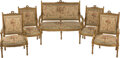 Furniture, A Five-Piece French Louis XVI-Style Giltwood and Tapestry Upholstered Salon Suite, 19th century. 40 x 53 x 24 inches (101.6 ... (Total: 5 Items)
