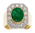 Estate Jewelry:Rings, Emerald, Diamond, Platinum-Topped Gold Ring. ...