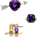 Jewelry, A Group of Three Diamond, Multi-Stone, and Gold Jewelry Articles. Stones: Full and single-cut diamonds weighing a total of a... (Total: 3 Items)