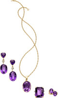 Jewelry, A Group of Amethyst and Gold Jewelry. Stones: Oval, heart, and emerald-cut amethysts weighing a total of approximately 90.70... (Total: 5 Items)