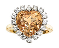 A Topaz, Diamond, and Platinum-Topped Gold Ring Stones: Heart-shaped orange topaz; full-cut diamonds weighing a total of...