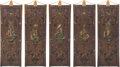 Decorative Accessories, A Group of Five Stamped and Painted Cuir de Cordoue-Style Panels, 19th century. 75-1/2 x 26-1/2 inches (191.8 x 67.3 cm) (ea... (Total: 5 Items)