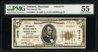 Oakland, MD - $5 1929 Ty. 2 The Garrett National Bank Ch. # 13776 PMG About Uncirculated 55