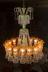 A French Glass Chandelier with Green and Gold Chimney Shades Attributed to Baccarat 42 inches (106.7 cm) (diameter)