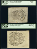 Colonial Notes:New Hampshire, Cohen 1850s Reprint New Hampshire April 3, 1742 7s 6d back PCGS About New 53, Hole Punch Cancelled;. Cohen 1850s Reprint N... (Total: 2 notes)