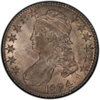 1824 50C O-107, R.2, MS63 PCGS. PCGS Population: (1/0 and 0/0+). NGC Census: (0/1 and 0/0+). MS63. Mintage 3,504,954...