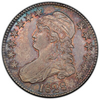 1828 50C Curl Base 2, No Knob, O-101, R.1, MS62 PCGS. PCGS Population: (1/2 and 0/1+). NGC Census: (1/2 and 0/0+). MS62...